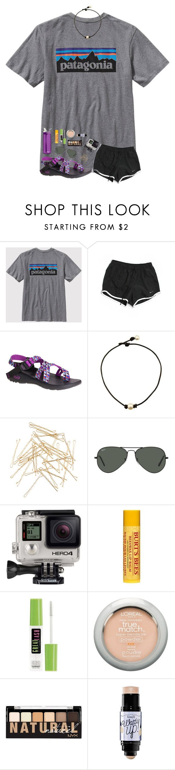 """""""Oml I hate boys RTD"""" by mmprep ❤ liked on Polyvore featuring Patagonia, NIKE, Chaco, Monki, Ray-Ban, GoPro, Burt's Bees, Maybelline, L'Oréal Paris and NYX"""