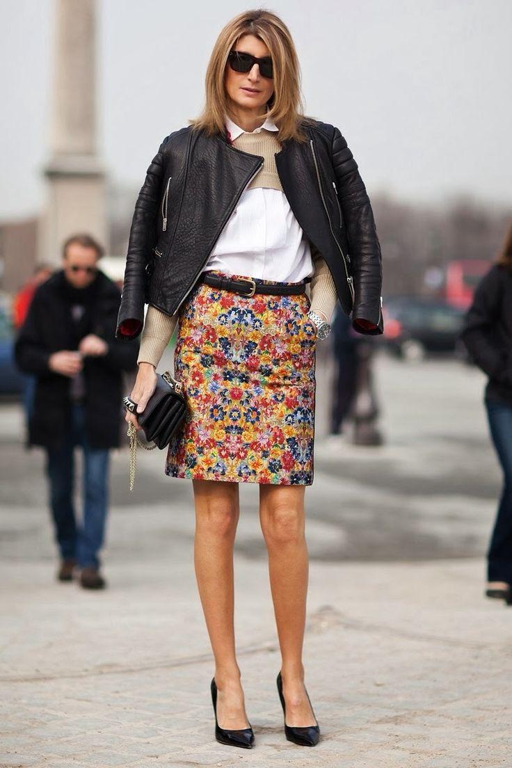 Sarah Rutson - Floral pencil skirt and classic white shirt