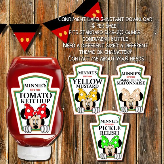 MINNIE MOUSE Condiment Labels-Baby Minnie by MyPrintablePartyLine