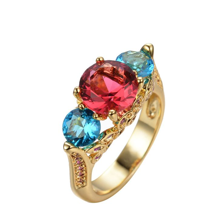 Cute Hot Pink Sapphire Aquamarine Jewelry Women/Men Vintage Ring Anel Aneis CZ Wedding Band Yellow Gold Filled Engagement Rings