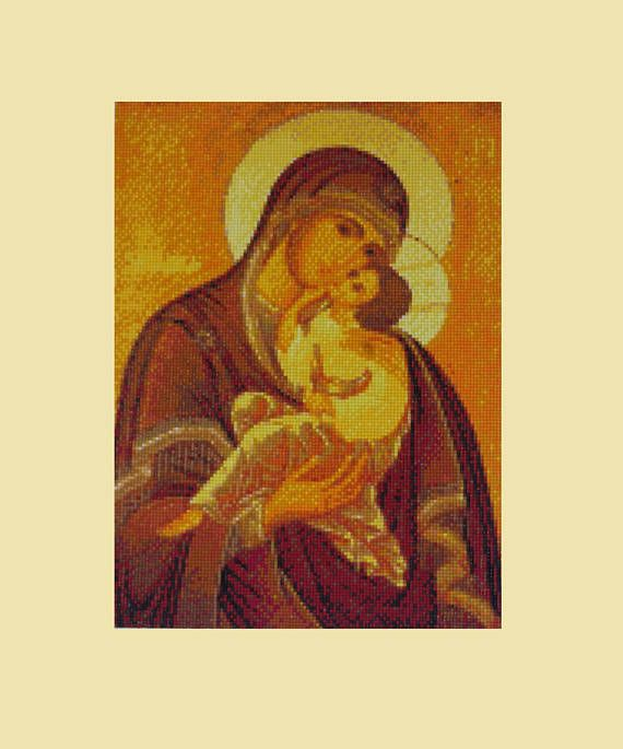 Madonna 30 x 40 cm Mother Mary and Jesus Diamond Painting Finished Completed Wall Decor Embroidery Cross Stitch Needlework Religion Mosaic