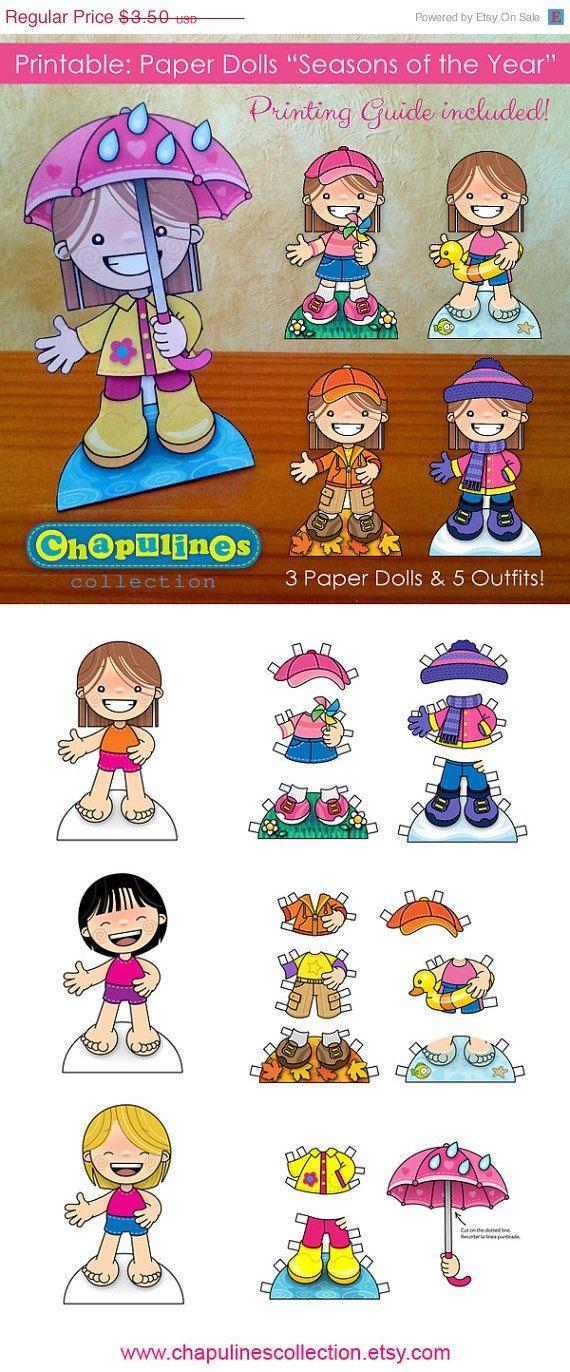 Muñecas de Papel Imprimible Estaciones por ChapulinesCollection
