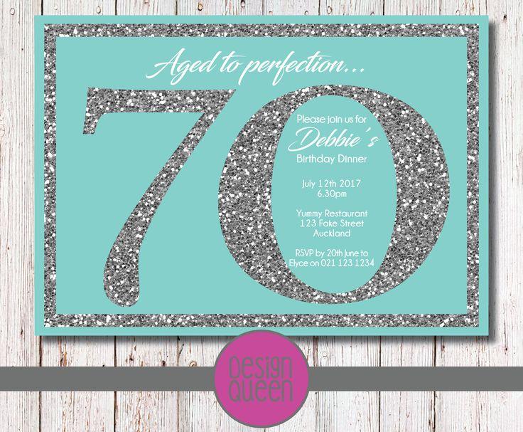 Tiffany Blue and Silver Glitter Birthday Invitation - YOU PRINT custom birthday party invite by QueenOfAdmin on Etsy