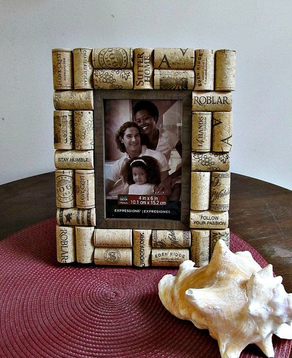 Rustic Brown Wine Cork Picture Frame  4 x 6 by LizzieJoeDesigns