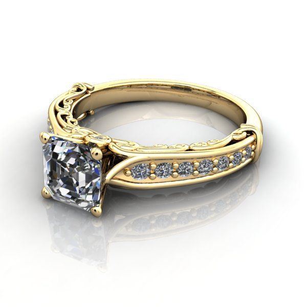 14 kt. Yellow Gold  Asscher cut Forever Brilliant  Moissanite with Accented and Side Diamonds Engagement Ring. #6740 by TrekJewellers on Etsy