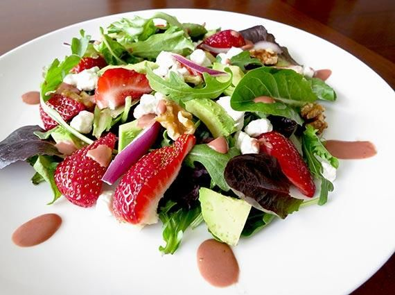 Strawberry, Goat Cheese and Roasted Walnut Salad With Strawberry. Photo by InnerHarmonyNutrition