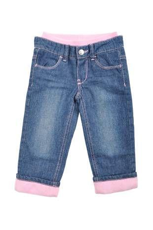 Pantalon tipo jeans para bebe niña, en color azul.