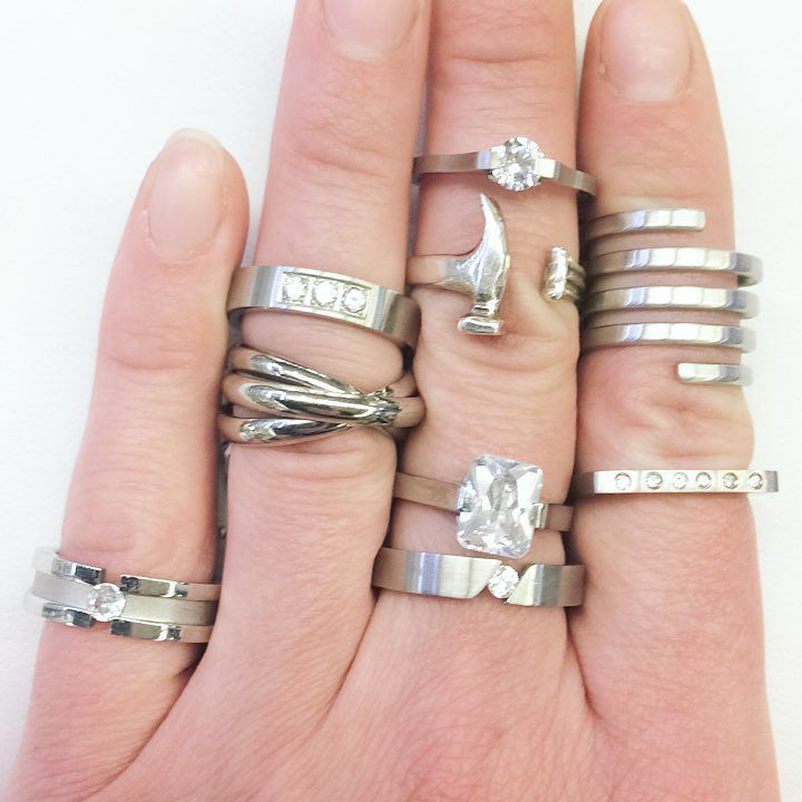 """Hey #Hamont have you checked out our stainless """"steel city"""" rings!? All of them are under $50!! Pictured here with a @hammerrings Hammer Ring"""