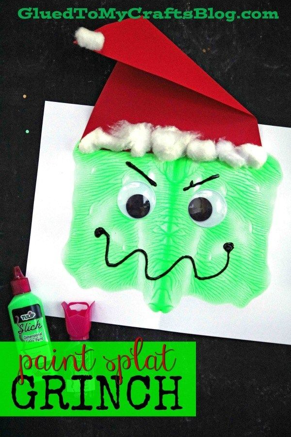 Paper & Paint Splat Grinch Face Christmas Kid Craft Idea