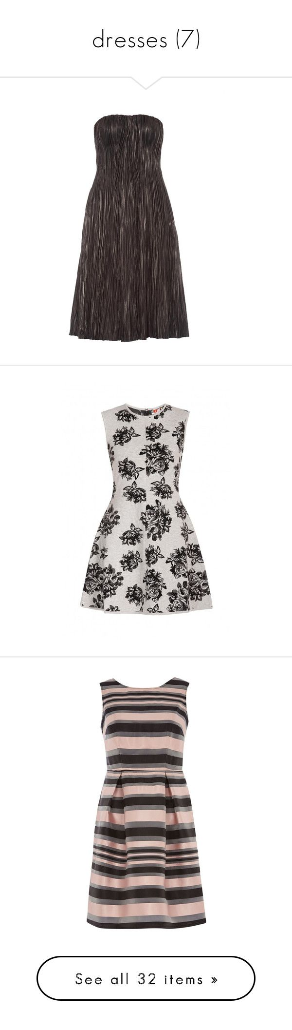 """""""dresses (7)"""" by namelessginger ❤ liked on Polyvore featuring dresses, black, leather cocktail dress, bustier dress, strapless bustier dress, strapless dresses, strapless bustier, grey, floral skater skirt and tight fitting dresses"""