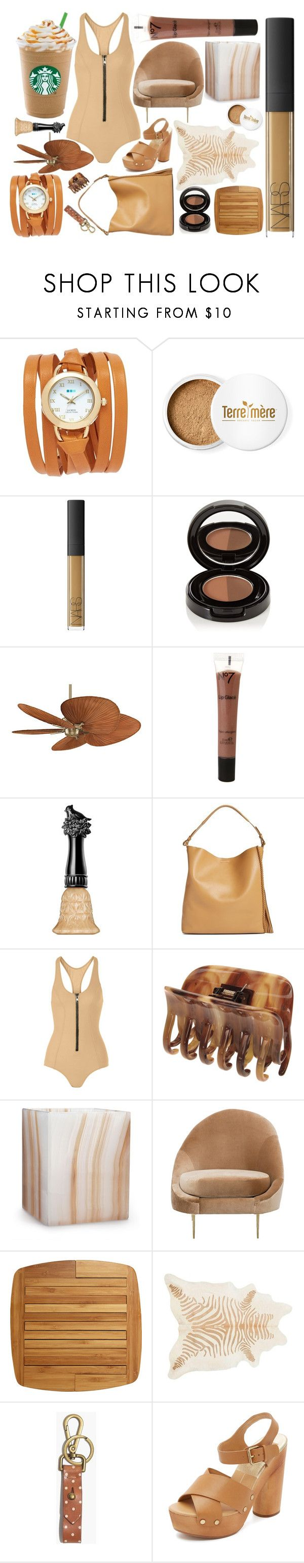 """""""7,000 Followers: Caramel Frappuccino"""" by rachael-aislynn ❤ liked on Polyvore featuring La Mer, Terre Mère, NARS Cosmetics, Anastasia Beverly Hills, Fanimation, Anna Sui, AllSaints, Lisa Marie Fernandez, France Luxe and Labrazel"""