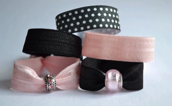 Fold over elastic hair ties in perfect Ballet colours! Creaseless hair ties, yoga ties, beaded bracelet, ponytail, crystal charm
