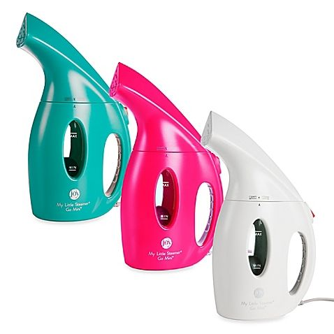 The My Little Steamer Go Mini Hand Steamer by Joy Mangano is a lightweight, portable, hand held fabric steamer. Pack it in the travel bag & slip it into your suitcase to easily smoothes wrinkles & creases out of suits, dresses, curtains, and more.  $19.99
