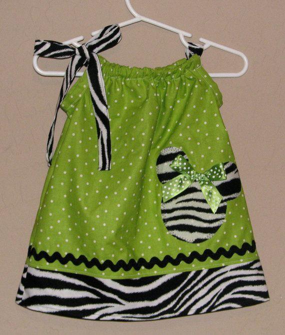 Minnie Mouse Pillowcase Dress- Zebra Lime Green Polka Dots & 20 best Pillowcase dress images on Pinterest   Pillowcase dresses ... pillowsntoast.com