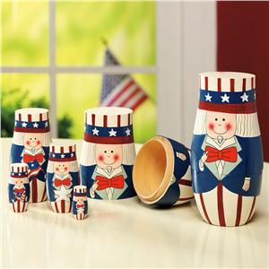 Uncle Sam Nesting Dolls from Lillian Vernon   Fourth of July Party Decor