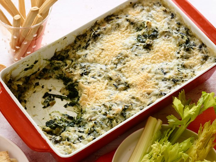 Recipe of the Day: Gorgonzola Spinach Artichoke Dip Once you serve this cheesy dip to your party guests, you'll be famous for it. Each scoop is loaded with melted Gorgonzola and Parmesan cheeses, plus hearty spinach and artichokes. Using frozen vegetables cuts down on prep, so this cheesy dip leaves the oven hot and bubbling in no time.