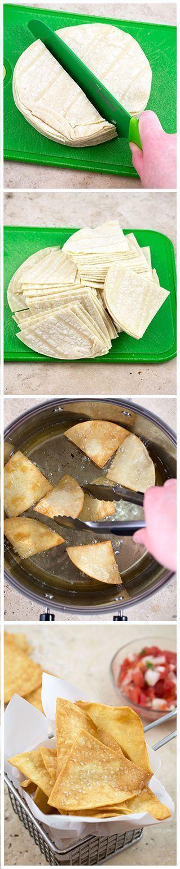 Super Easy Homemade Tortilla Chips | chefsavvy.com #recipe #appetizer #homemade #tortilla #chips #mexican