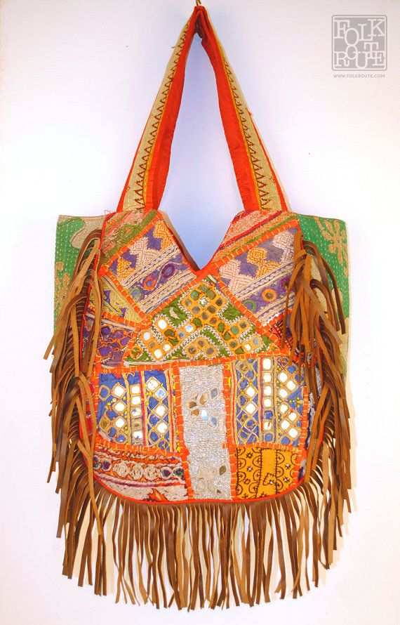 Banjara Kutch Leather Strips Tote Bag by FolkRoute on Etsy