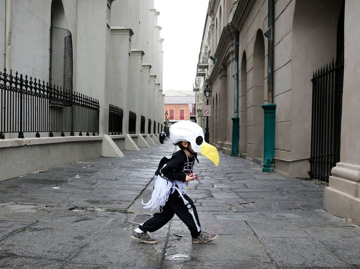 This six-year-old dressed as a bald eagle skeleton to parade with his parents who are members of the Skeleton Krewe.