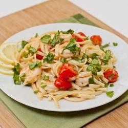 Shrimp Scampi Pasta. Whole grain pasta,already cooked extra small shrimp, olive oil, lemon,garlic,red pepper, parmesean