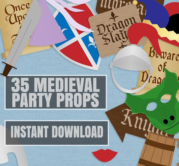 35 Medieval Party Props, Knights Party Printable Photo