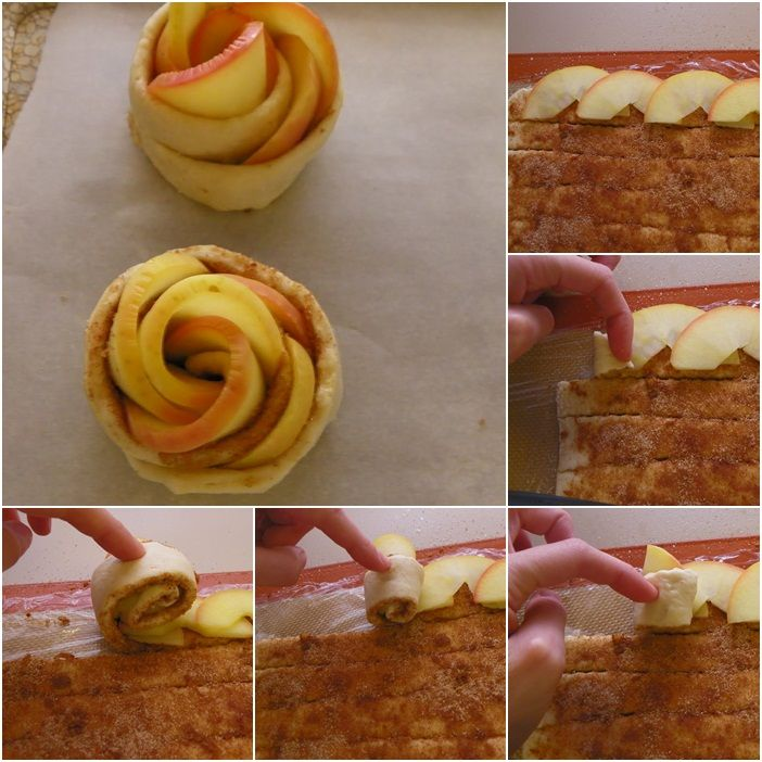 diy apple roses tarts recipe dough slices rolling