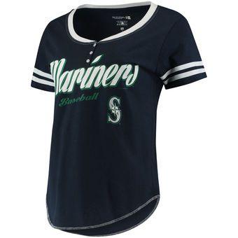 Women's 5th & Ocean by New Era Navy/White Seattle Mariners Slub Henley T-Shirt