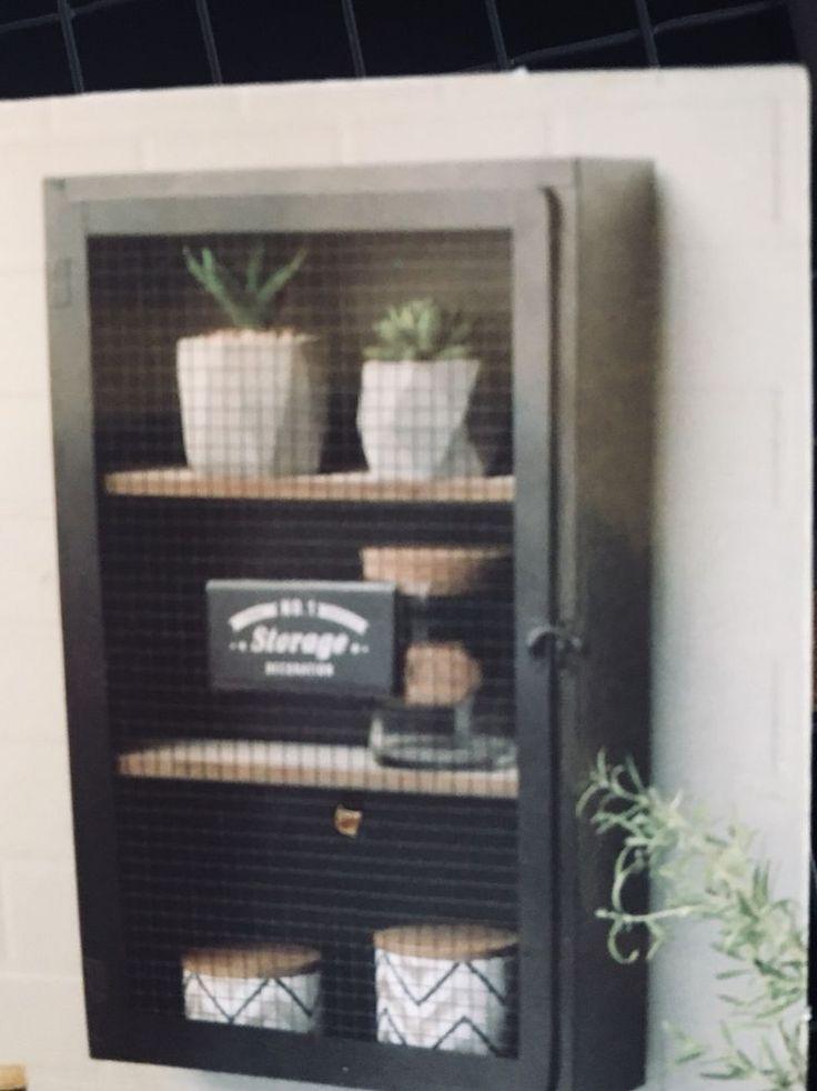 Industrie Wandschrank mit Tür Regal Metall Retro Schwarz Vintage