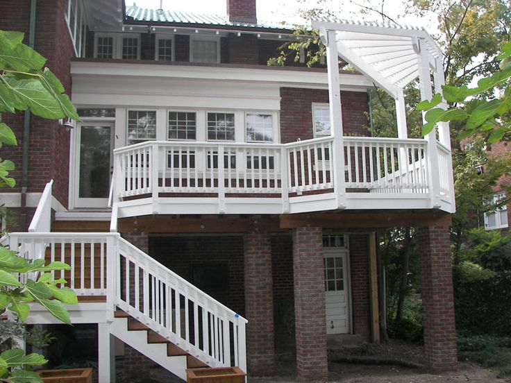 Brick piers ---- Multi-Level Deck Second Story | second story deck with pergola decks second story deck with