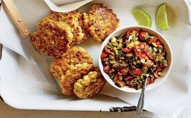 Corn Fritters with Spicy Zucchini Salsa / Johnny Miller