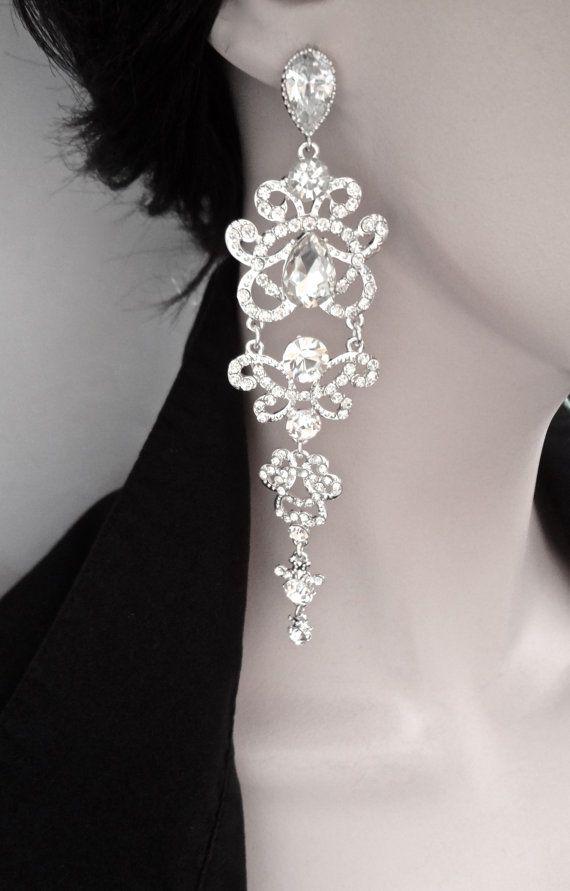 """Long chandelier earrings - Rhinestone earrings - Sterling Silver - 5"""" long - Brides earrings - Pageant - Prom - Statement earrings -"""