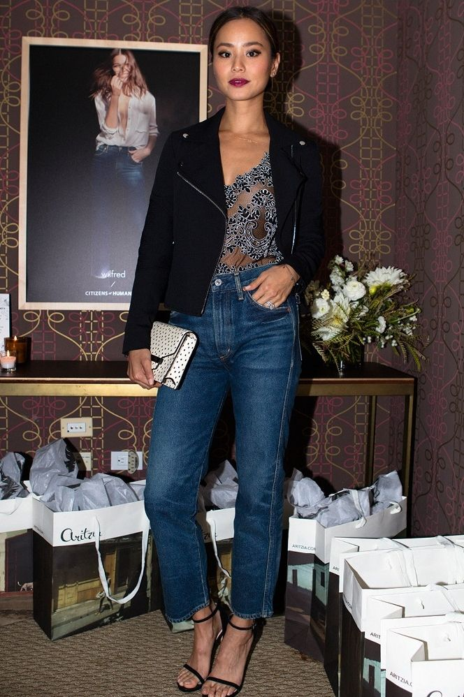 Jamie Chung at the Wilfred / Citizens of Humanity event at Sunset Tower in LA, wearing Wilfred/Citizens of Humanity Liv denim and 1—01 Babaton Franck Blouse.
