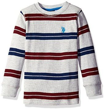 U.S. Polo Assn Boys' Long Sleeve Thermal Bengal Striped Pullover Shirt