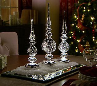 Set of 3 Mercury Glass Illuminated Finials by Valerie — QVC.com
