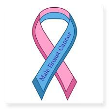 Male Breast Cancer Awareness Ribbon Sticker: