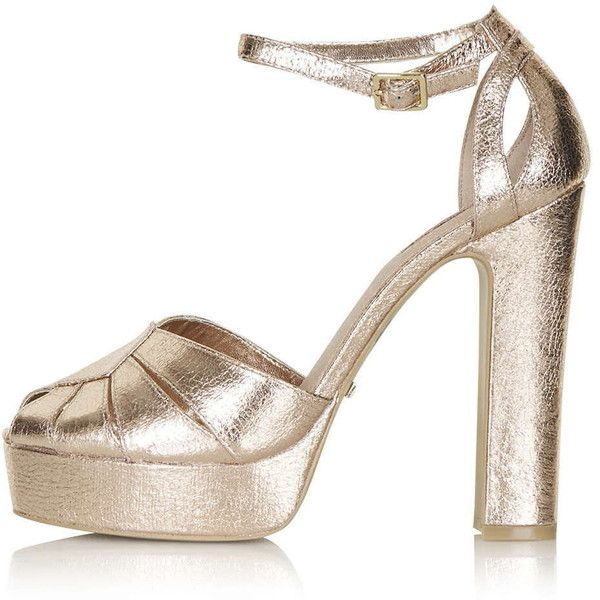 TopShop Sienna Peep-Toe Platform Shoes ($70) ❤ liked on Polyvore featuring shoes, topshop, rose gold, platform shoes, chunky platform shoes, peeptoe shoes, peep toe shoes and metallic platform shoes