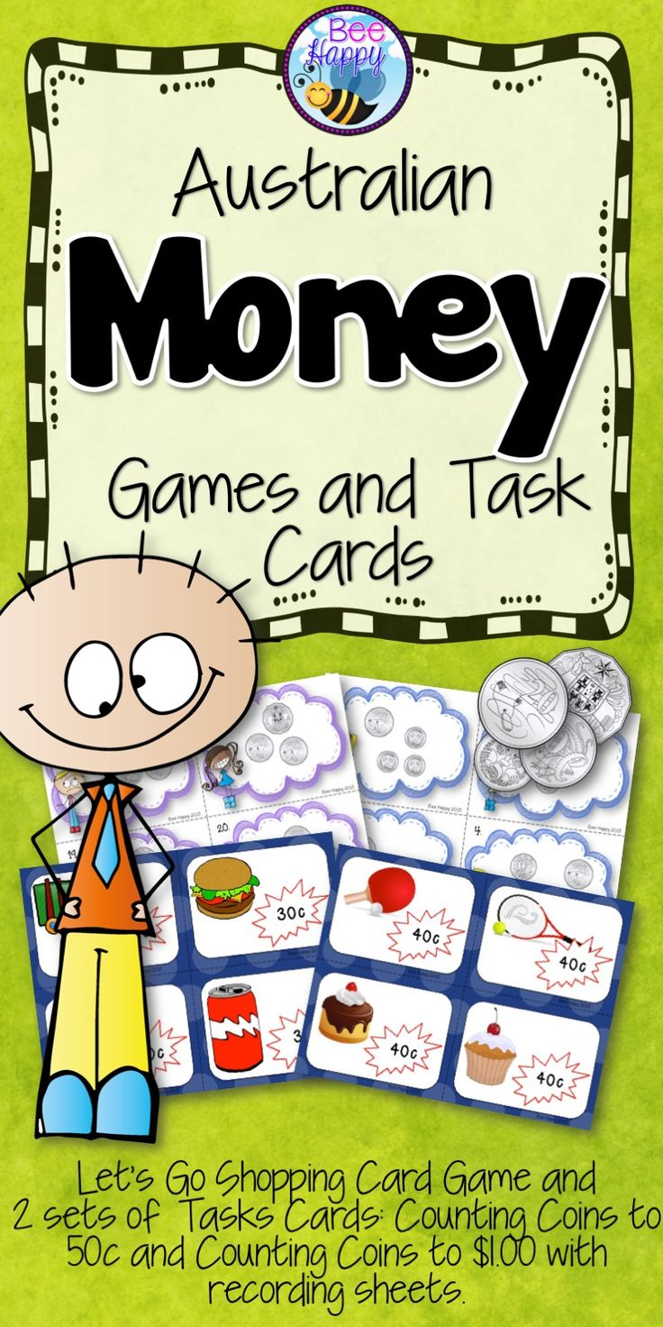 Let's Go Shopping Card Game and 2 sets of Tasks Cards: Counting Coins to 50c and Counting Coins to $1.00 with recording sheets. Use the Task Cards in Math Centres, for small group work or as Scoot Cards. Recording sheets included. A perfect supplement to any money program in Year 1 or 2.