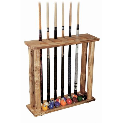 Rush Creek 6 CUE Stick Floor Pool Table Rack Stand Ball Holder Pine Wood Finish | eBay