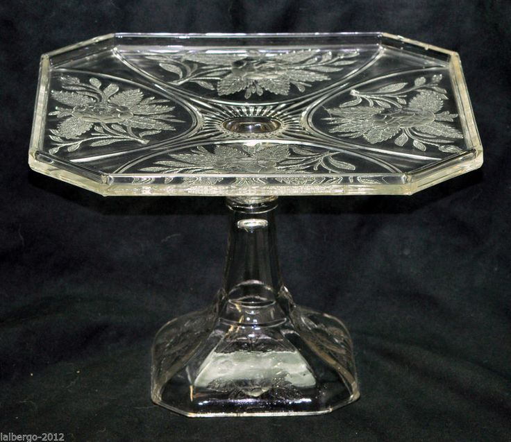Antique Pressed EAPG Pattern Glass Rose Sprig Footed Pedestal Cake Stand Plate & 939 best antique bowl and dishes images on Pinterest   Vintage cake ...