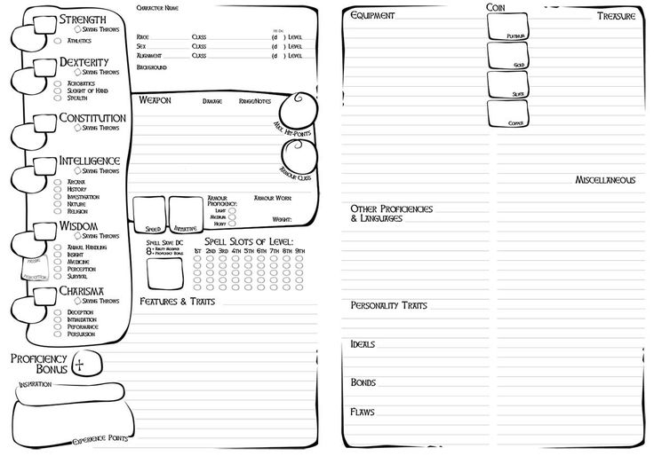 D D 5e Character Sheet Double Sided Printable: The 25+ Best Dnd Character Sheet Ideas On Pinterest