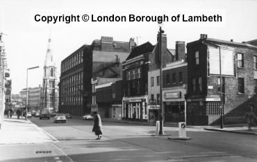Westminster Bridge Road, Lambeth looking towards the spire of Christ Church with entrance to Carlisle Lane on right 1969