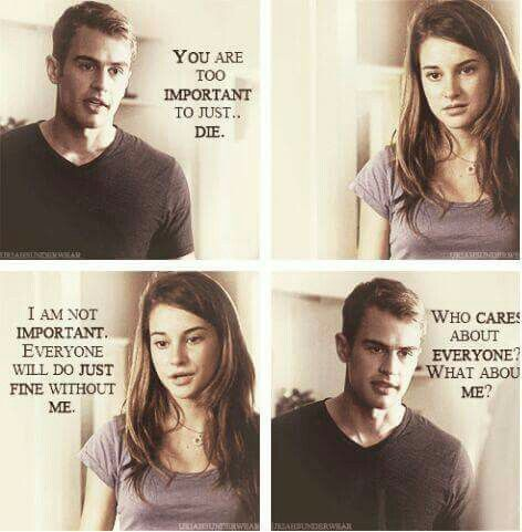 I cried so hard reading allegiant because of the thing 4 and tris had to face