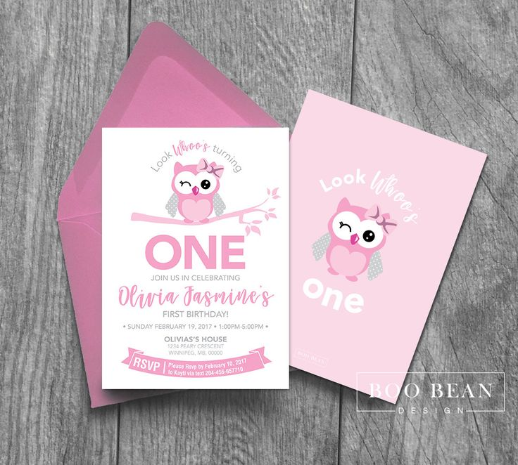 Owl Birthday Invitation | Look Whoo's turning One | Printable Invitation | Owl Invitation | Owl Party Invitation | Girls first Birthday by BooBeanDesign on Etsy