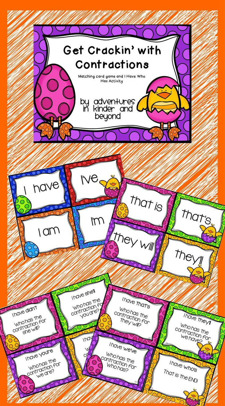 Contraction matching game reading adventure matching