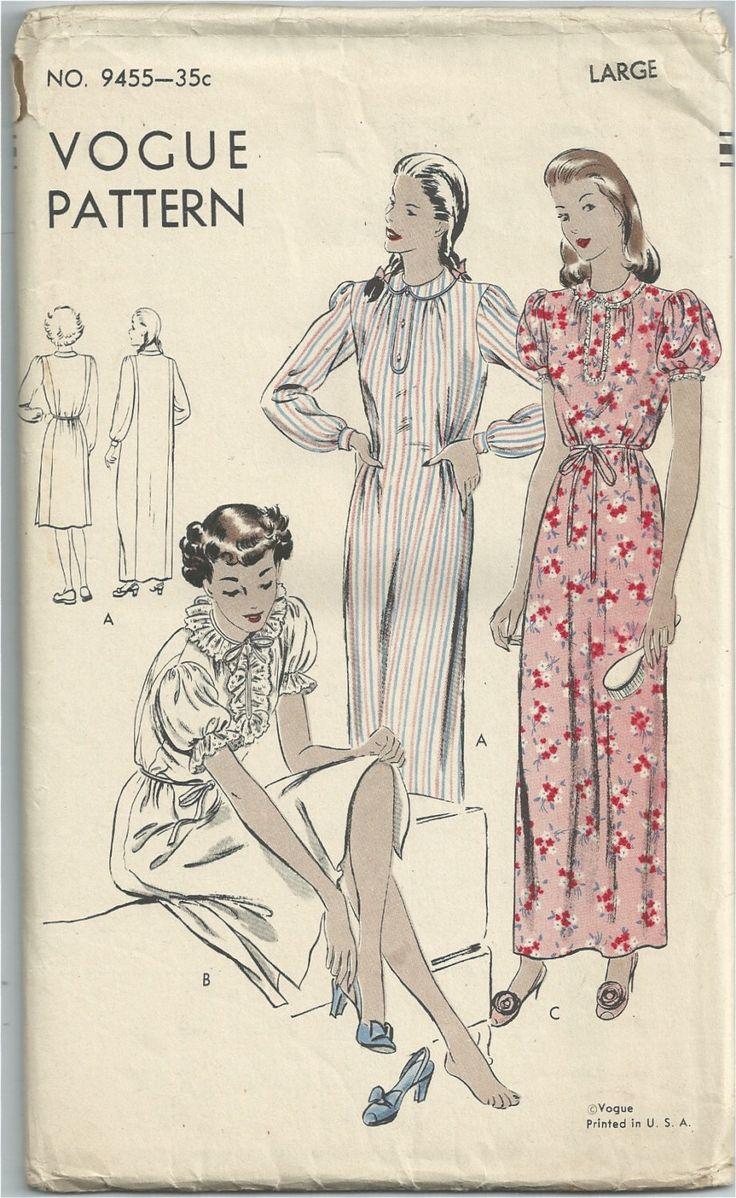 Pattern di cucito Vogue 9455 vintage anni ' 40 - 40s modello camicia da notte di RebekaVintage su Etsy https://www.etsy.com/it/listing/198683124/pattern-di-cucito-vogue-9455-vintage