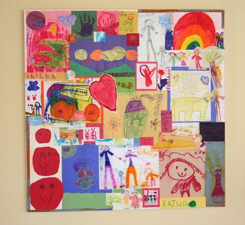 Kids artwork cut up on canvas, then decoupage.