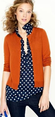 Round neck cardigans: a study in proportion. Try wearing with tops that end a few inches lower ... I like how the shirt is unbuttoned to draw the eye downward