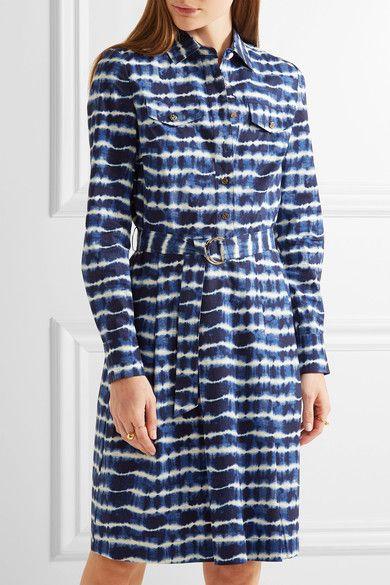 Tory Burch - Derrick Tie-dyed Stretch-cotton Poplin Shirt Dress - Navy - US