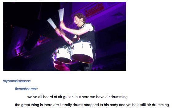 Ian is air-drumming. :)