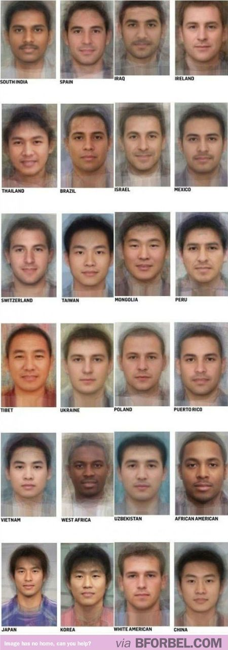 The average face of guys from different countries!